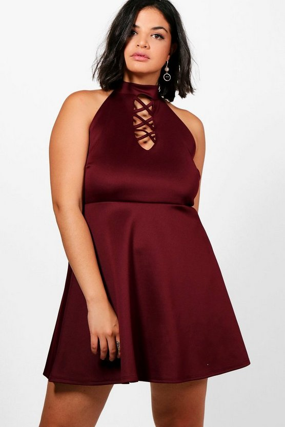 Plus Ayesha Scuba Cross Front Skater Dress