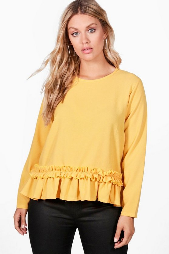 Womens Amber Plus Kerry Crepe Ruffle Long Sleeve Crop