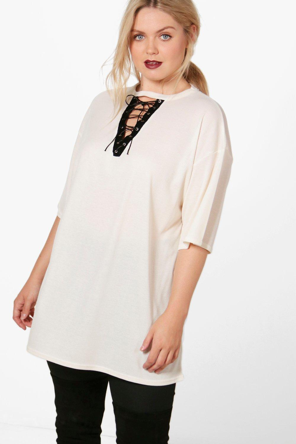 330743795801f Plus Casey Lace Up Oversized Ribbed Tunic Top. Hover to zoom
