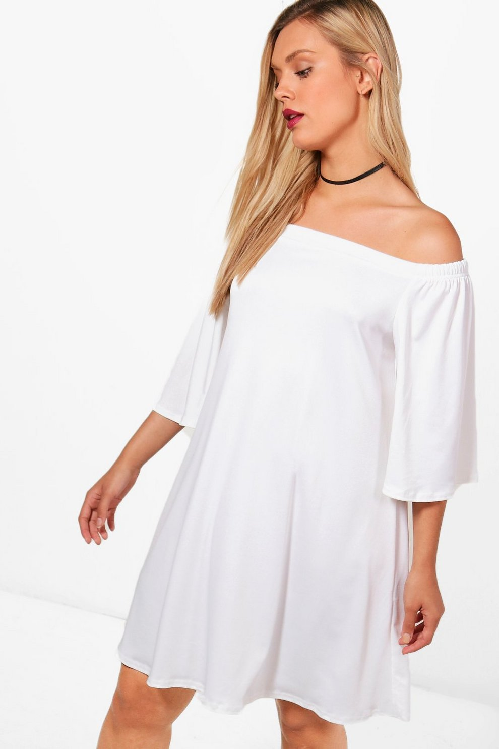3842ebbea758 Womens Ivory Plus Darby Off The Shoulder Swing Dress