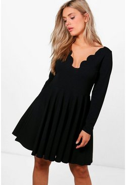 Womens Black Plus  Long Sleeved Scallop Skater Dress