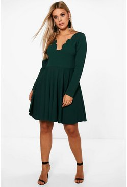 Womens Bottle green Plus  Long Sleeved Scallop Skater Dress