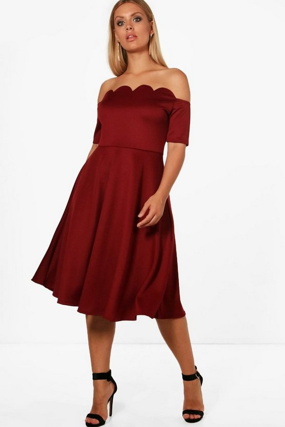 Womens Berry Plus  Scallop Off Shoulder Midi Skater Dress