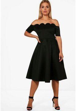 Womens Black Plus  Scallop Off Shoulder Midi Skater Dress