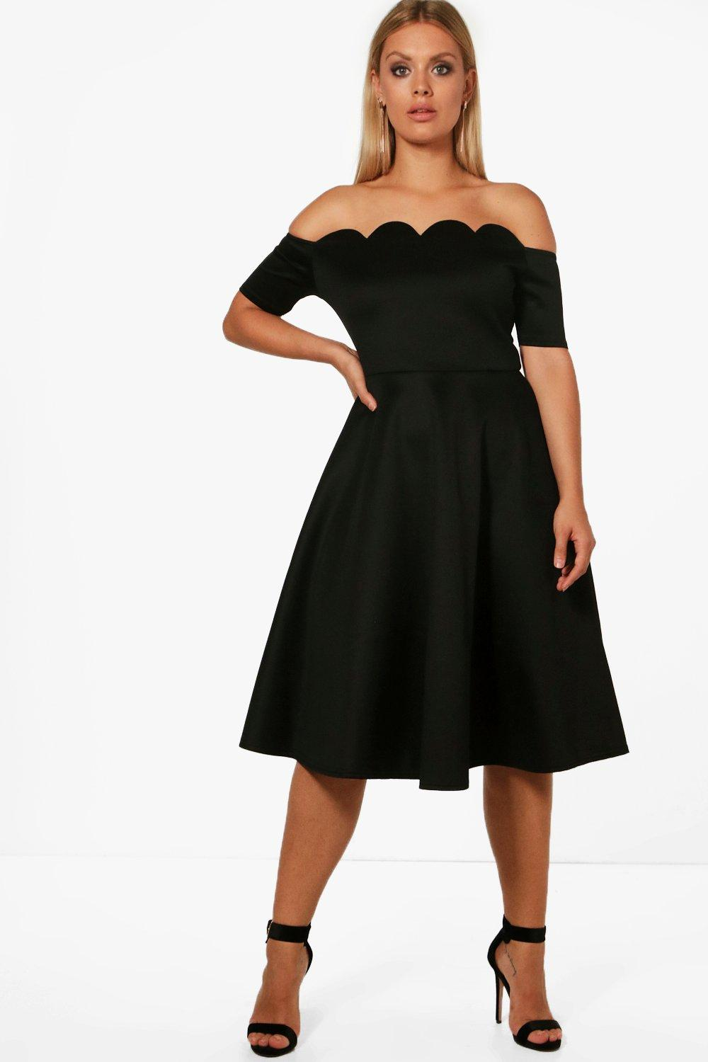 fc2d39ec80 Womens Black Plus Scallop Off Shoulder Midi Skater Dress. Hover to zoom