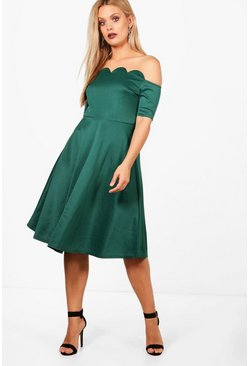 Womens Evergreen Plus  Scallop Off Shoulder Midi Skater Dress
