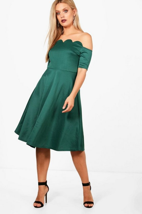 Plus  Scallop Off Shoulder Midi Skater Dress