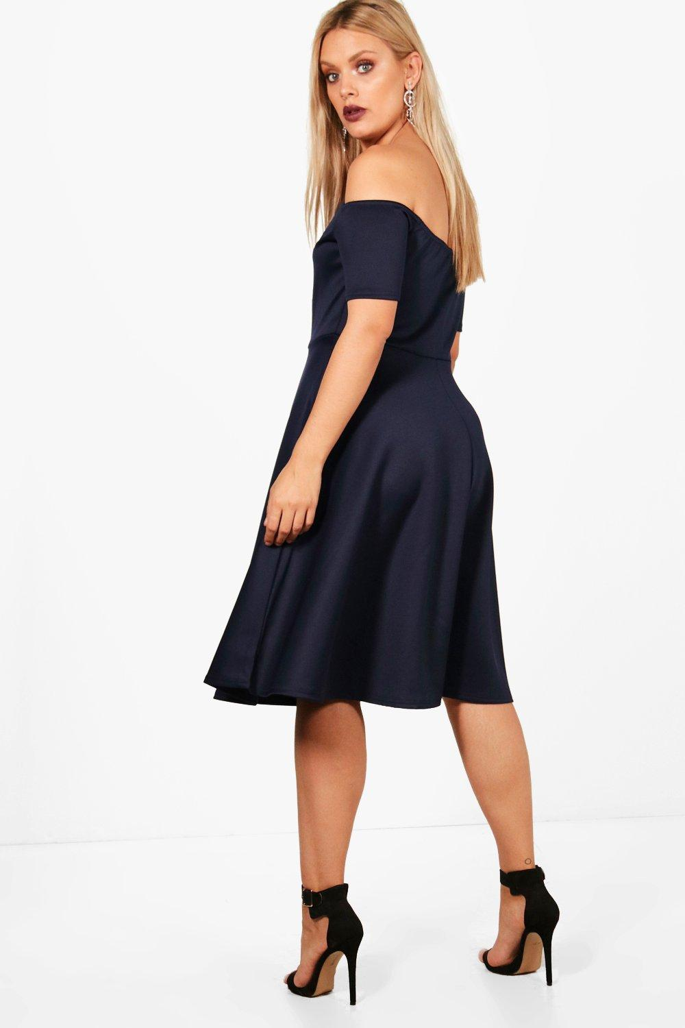 Boohoo Womens Plus Size Scallop Off Shoulder Midi Skater Dress  ad82dc29f
