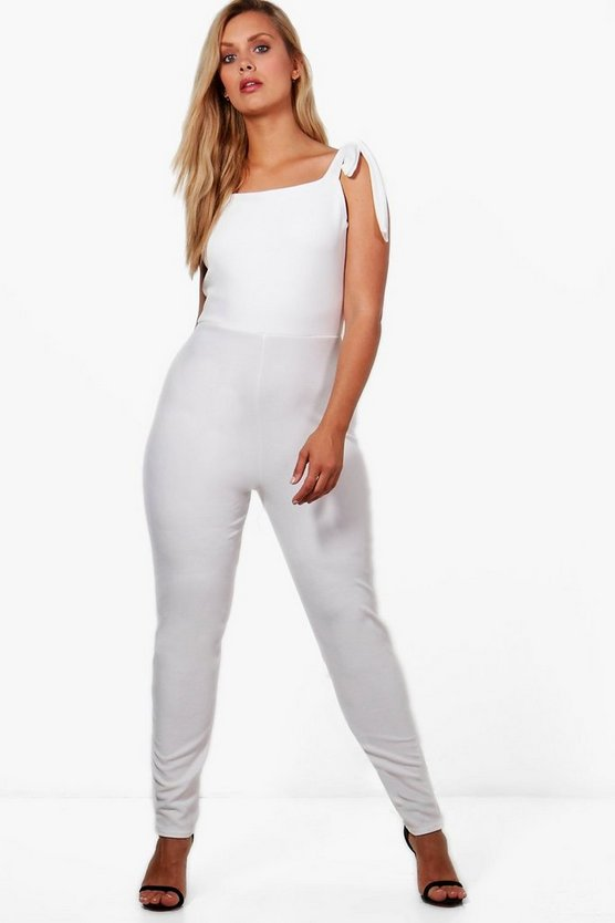 Plus Hannah Crepe Tie Shoulder Detail Jumpsuit