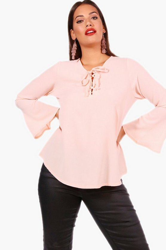 Plus Lace Up Front Flare Sleeve Tunic Top