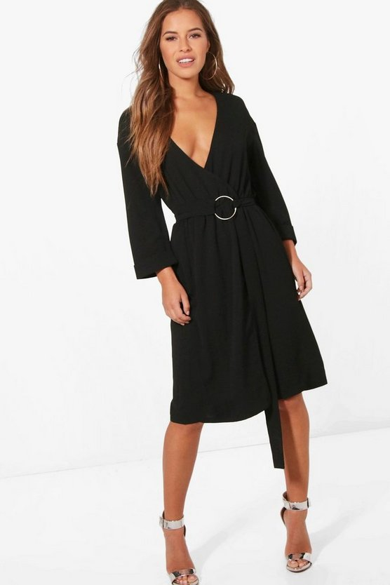 Petite D Ring Belted Wrap Dress