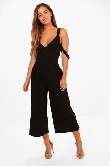 Womens Black Petite Drape Shoulder Jumpsuit