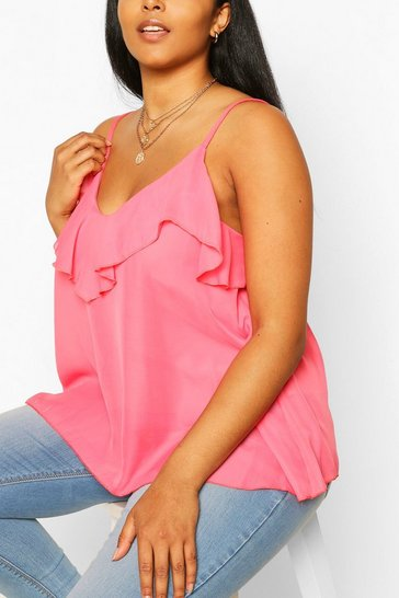 Bright pink Plus  Ruffle Detail Swing Cami