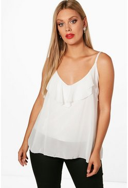 Ivory Plus  Ruffle Detail Swing Cami
