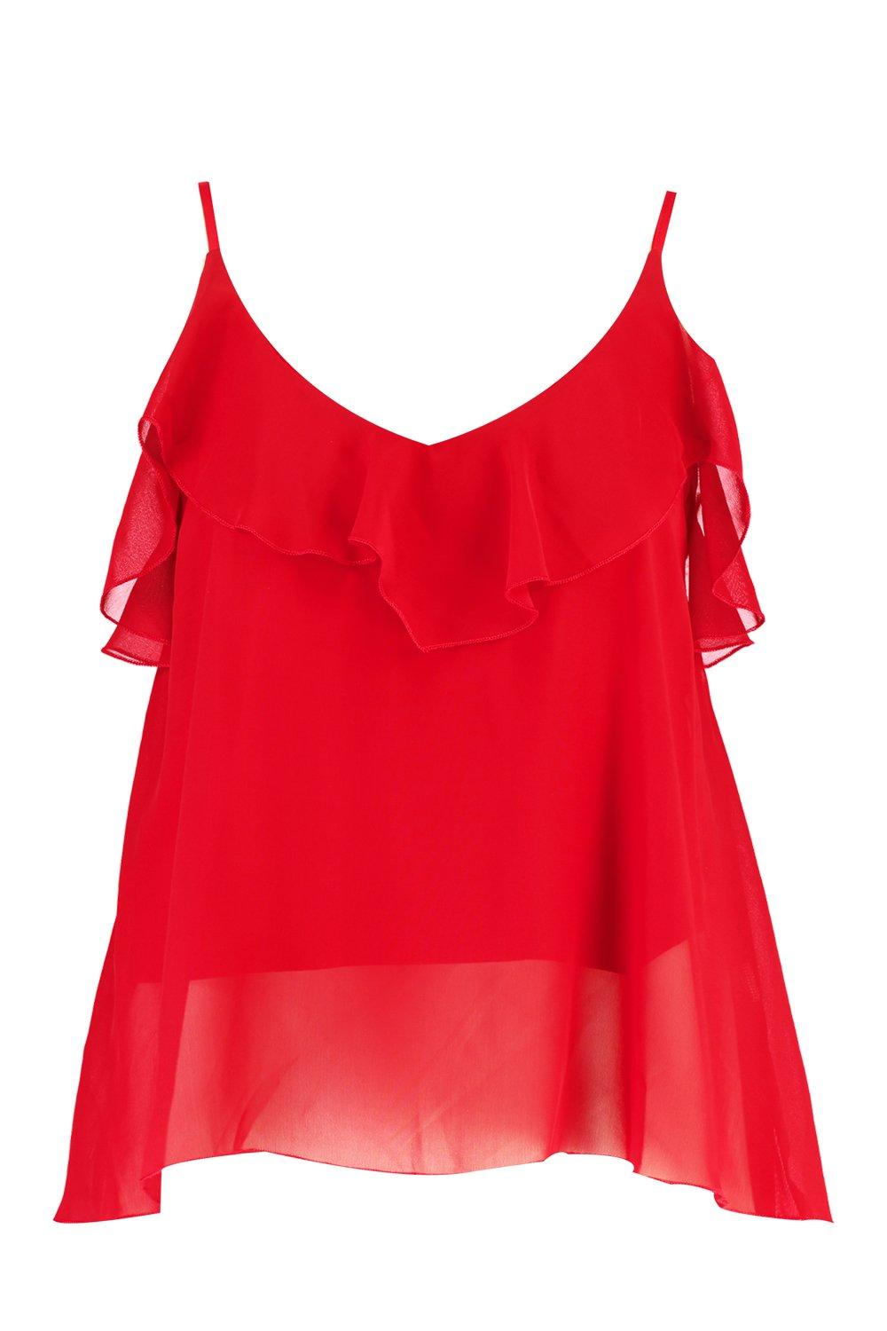 Ruffle Plus Swing Detail red Cami 4ZCwZATq