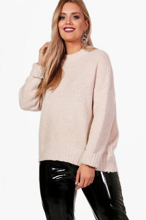 Plus Oversized Funnel Neck Jumper