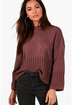 Womens Mink Petite Wide Sleeve Oversized Sweater