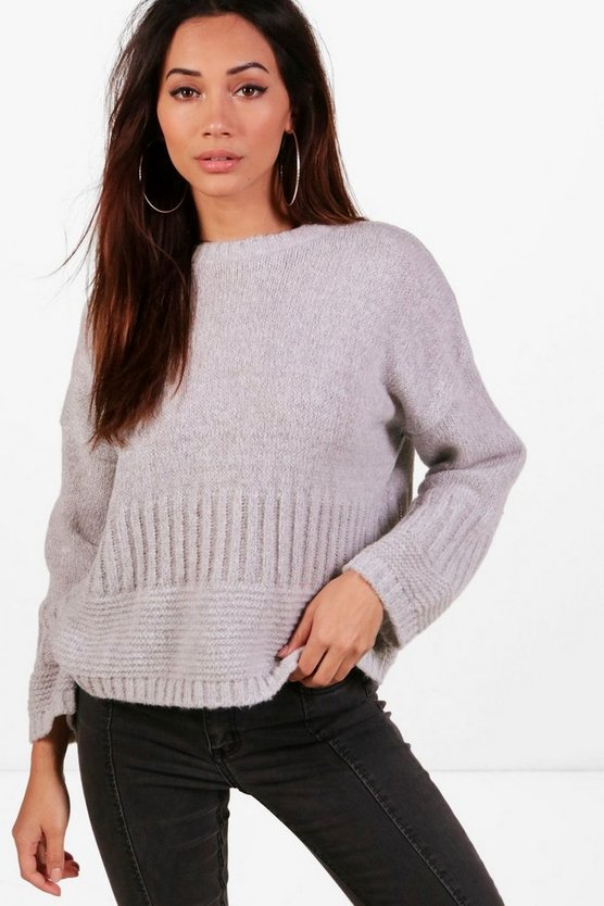 Womens Silver Petite Wide Sleeve Oversized Jumper