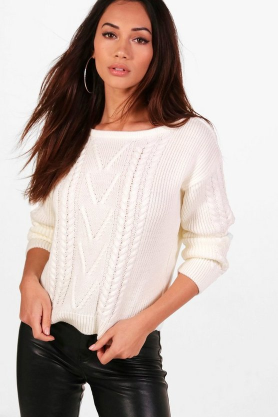 Petite Cable Knit Slash Neck Jumper