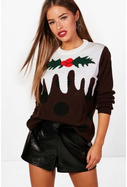 Womens Brown Petite Christmas Pudding Jumper