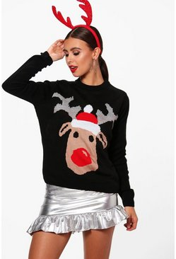 Womens Black Petite Reindeer Christmas Jumper