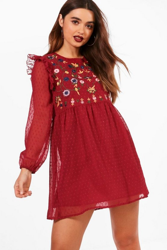 Petite Embroidered Dobby Long Sleeve Dress