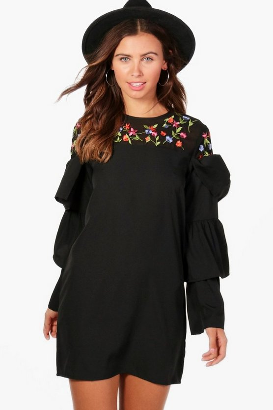 Petite Ruffle Sleeve Embroidered Dress