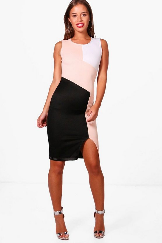 Petite Jasmine Colour Block Midi Dress