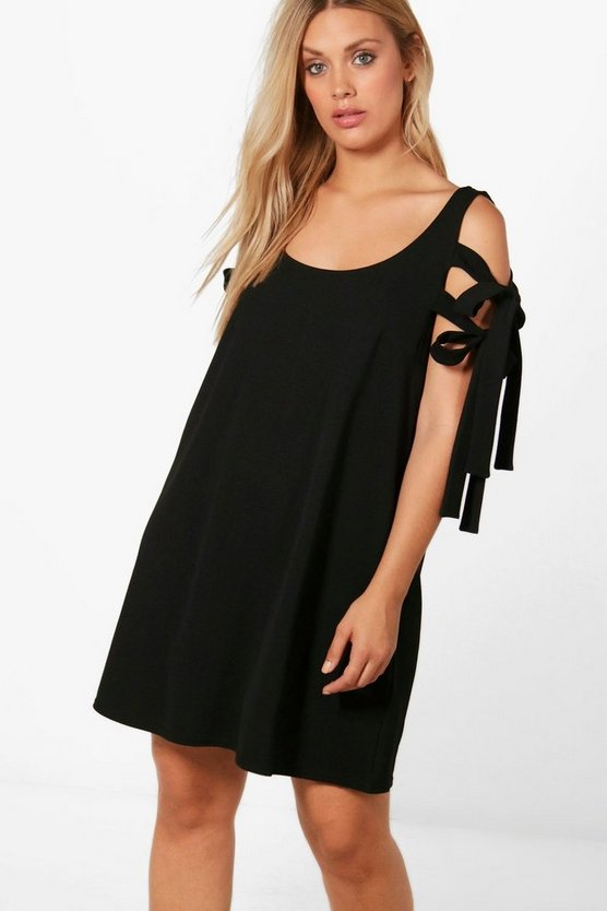 Plus Tie Sleeve Cold Shoulder Shift Dress