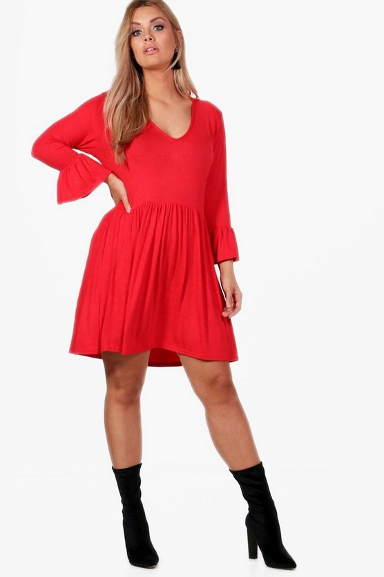 Plus V Neck Skater Dress