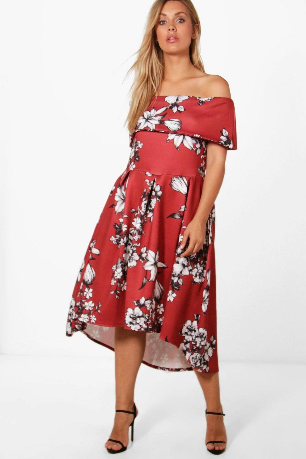 f877e39ec77 Plus Elise Floral Double Layer Skater Dress
