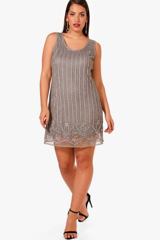Plus Sequin Sleeveless Shift Dress