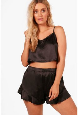 Womens Black Plus Satin Strap Detail Vest + Short Set