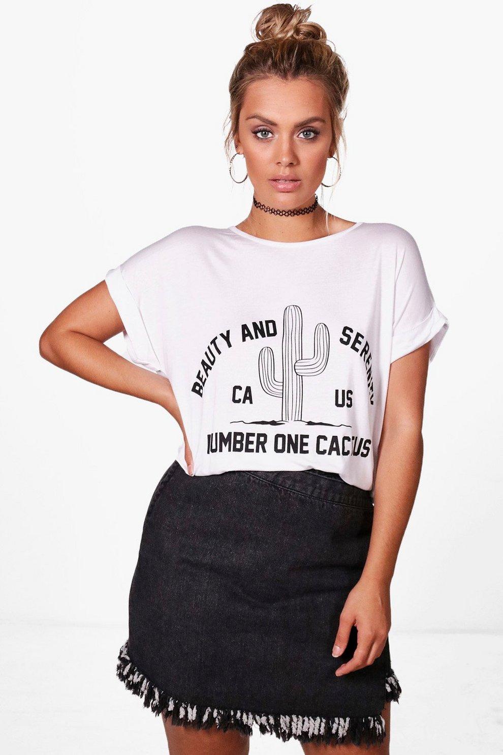 31327e549a Plus Sophia Cactus Printed Slogan T-shirt