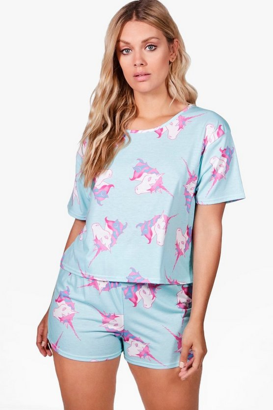 Plus Lucy Unicorn Short and Tee PJ Set