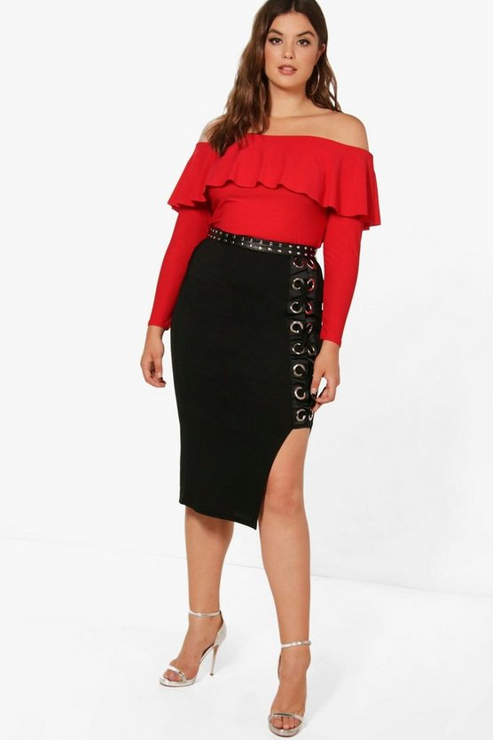 Plus Cerys Eyelet Detail Midi Skirt