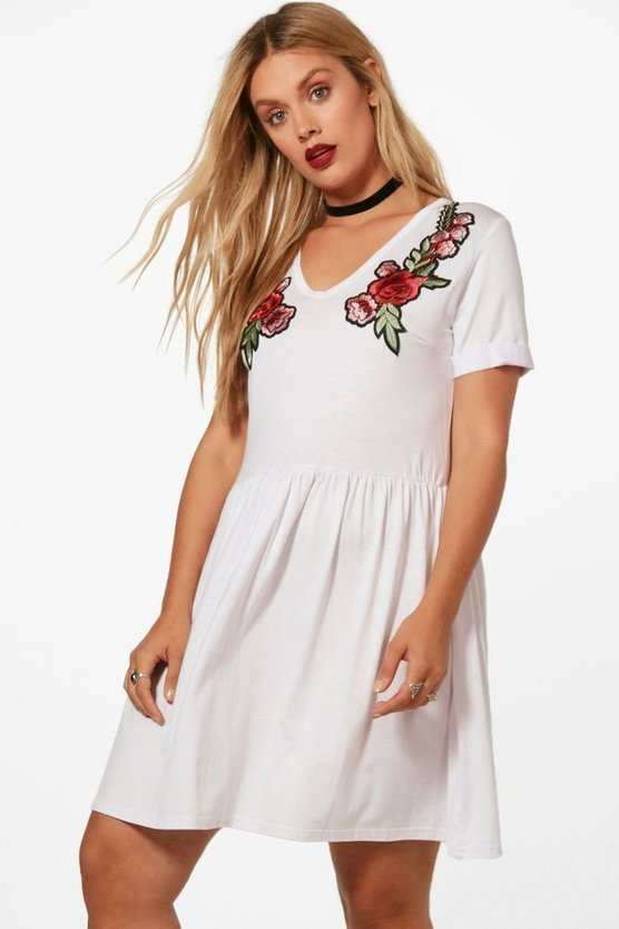 Plus Lola Embroidered Front Skater Dress