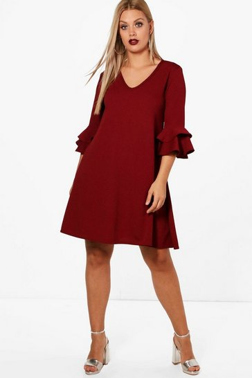 Womens Berry Plus  Crepe Ruffle Sleeve Shift Dress