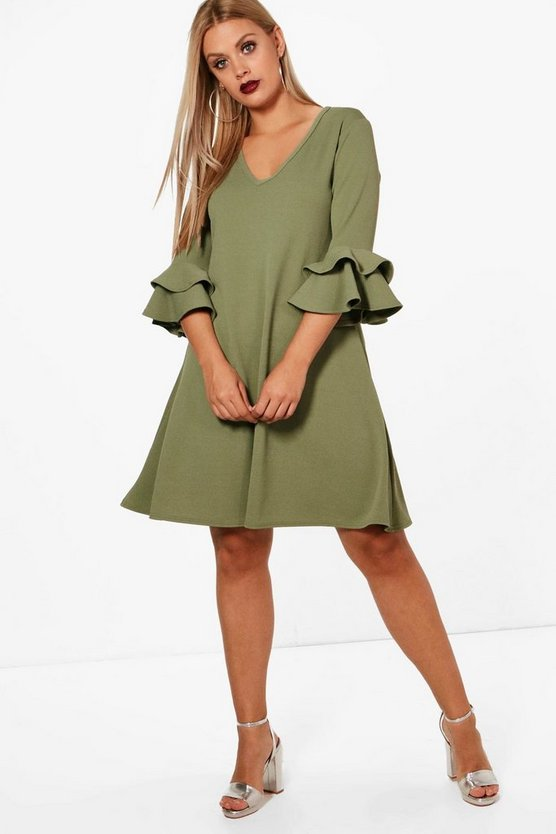 Plus Crepe Ruffle Sleeve Shift Dress