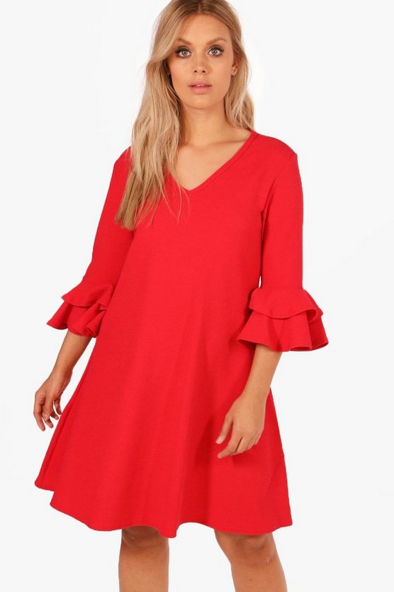 Womens Red Plus  Crepe Ruffle Sleeve Shift Dress