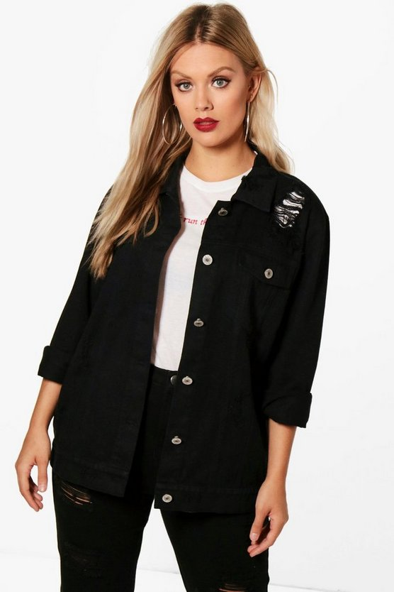 Black Plus Jemima Distressed Twill Jacket