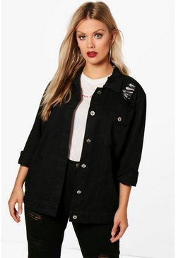 Plus Jemima Distressed Twill Jacket, Black, FEMMES