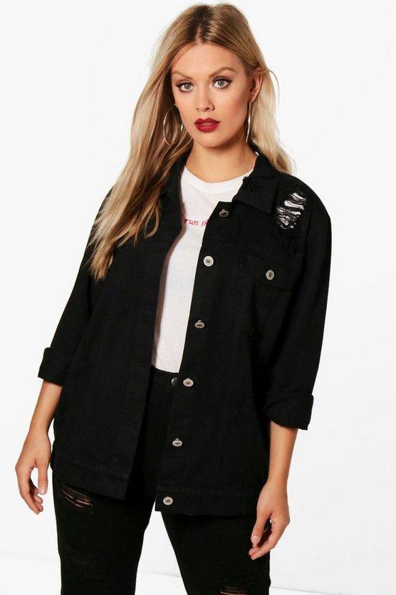 Plus Jemima Distressed Twill Jacket
