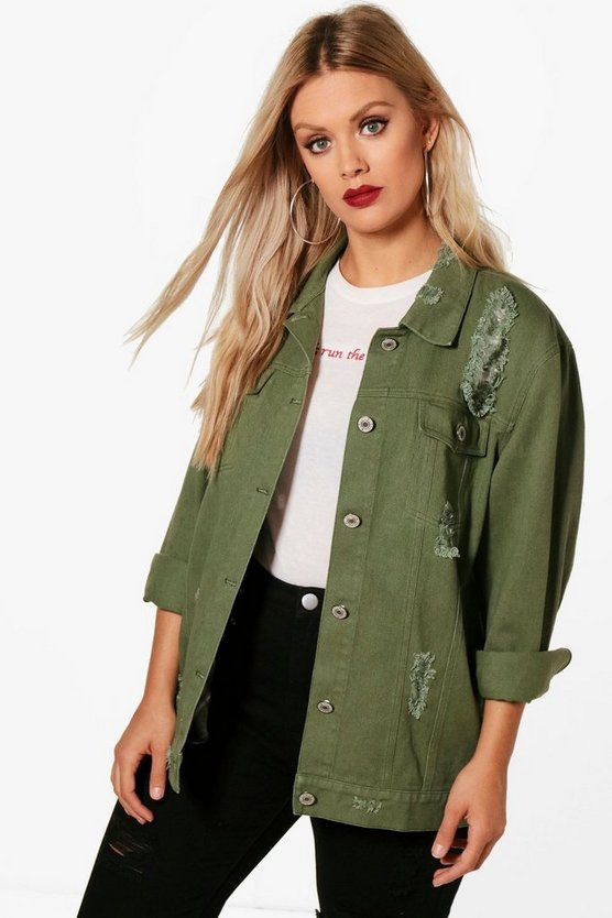 Khaki Plus Jemima Distressed Twill Jacket