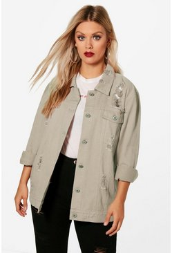Plus Jemima Distressed Twill Jacket, Stone, Donna