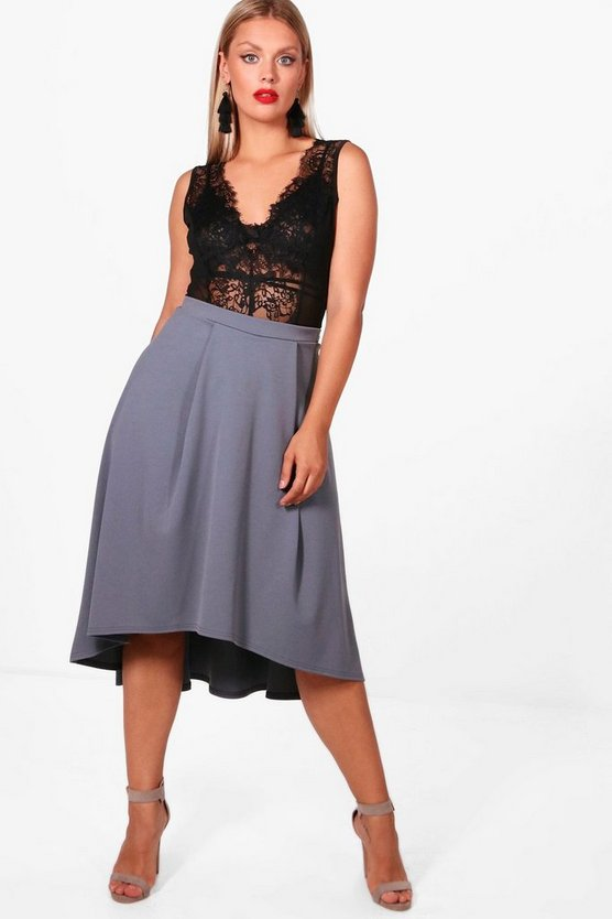 Plus Scuba Dipped Hem Midi Skirt