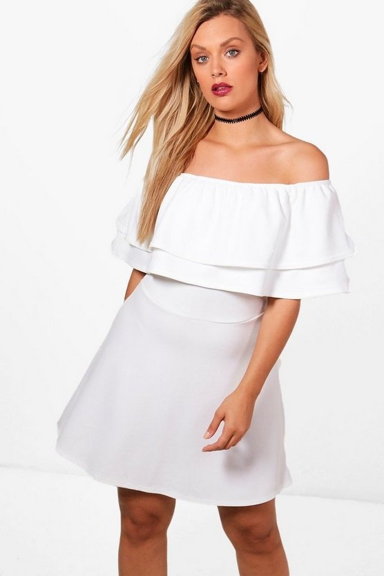 Plus Diana Off The Shoulder Ruffle Skater Dress