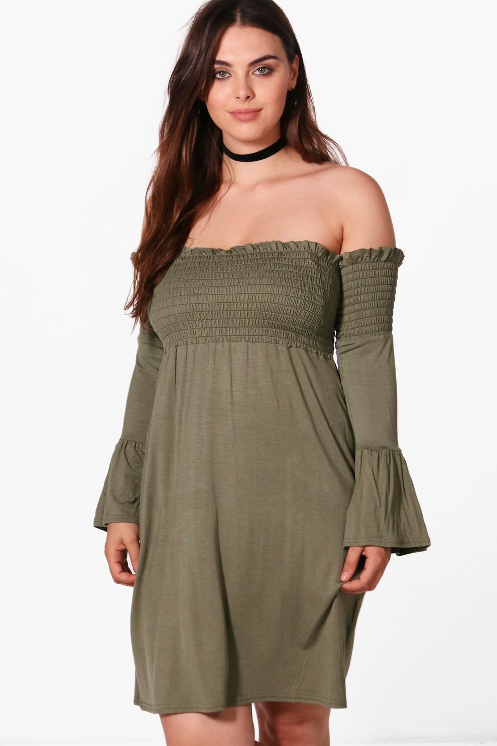 0337925b651 Womens Khaki Plus Lucy Shirred Off The Shoulder Dress. Hover to zoom