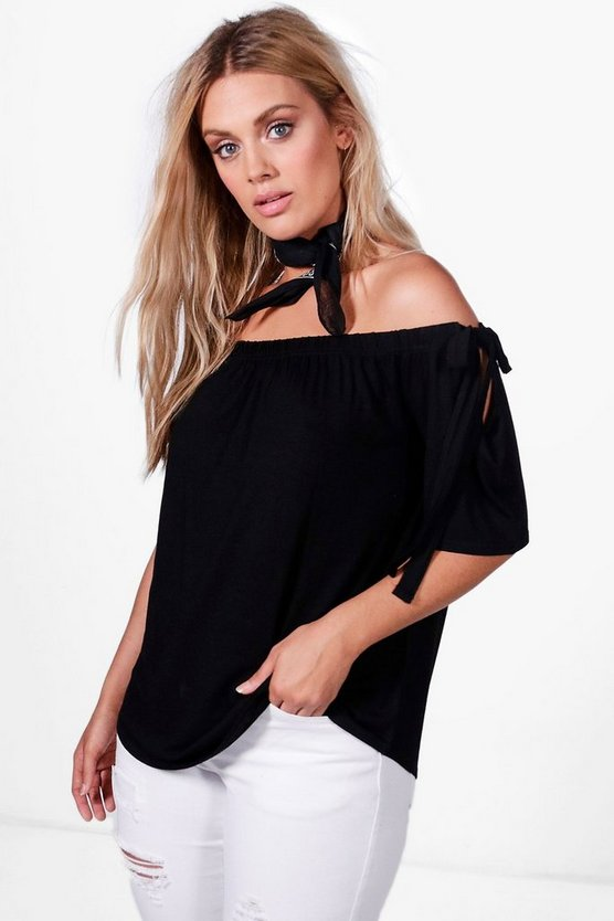 Plus Layla Tie Sleeve Off The Shoulder Top