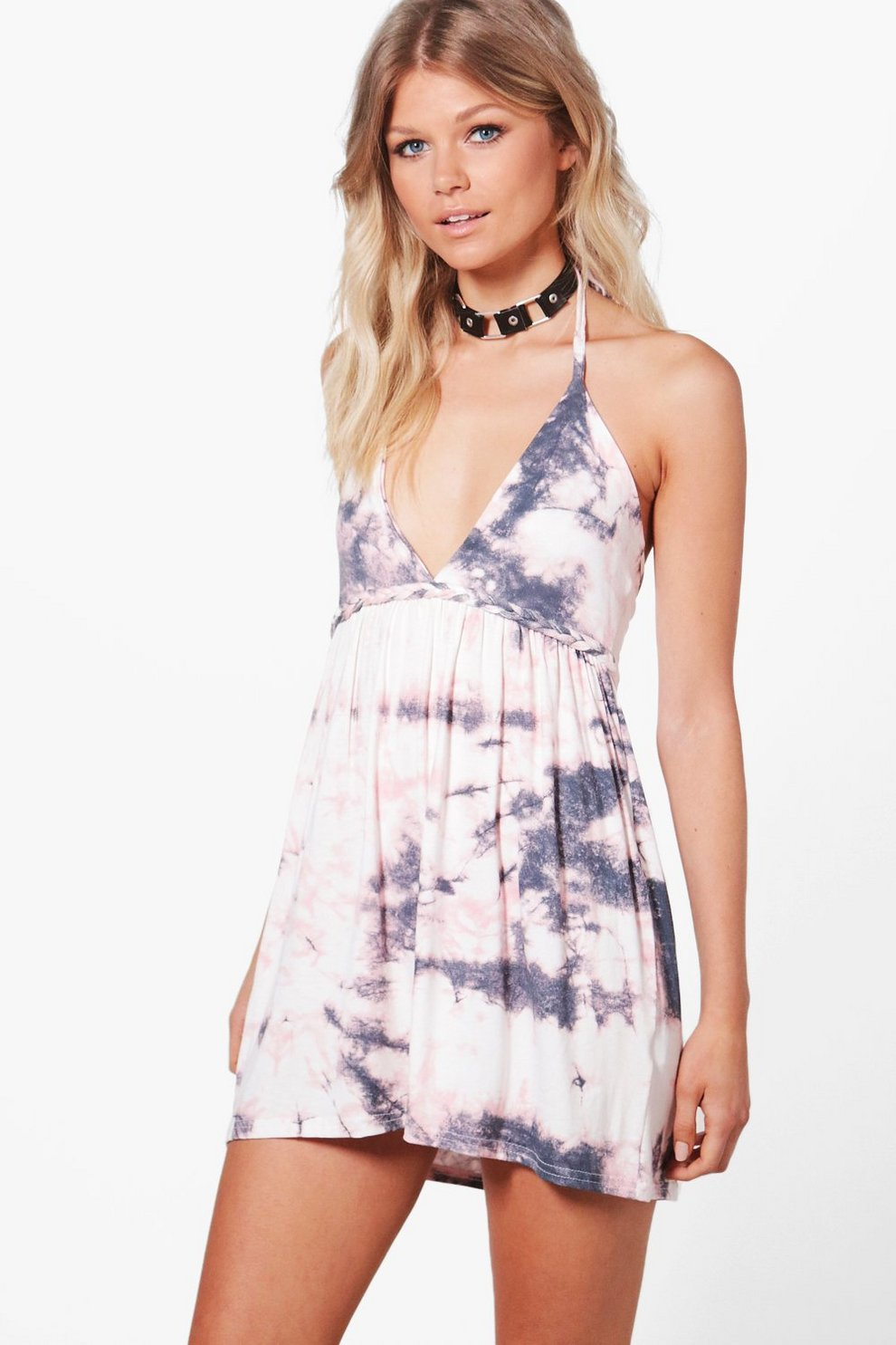 5314f505e73345 Womens White Petite Claire Tie Dye Beach Dress